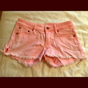 Roxy neon pink distressed bottom shorts
